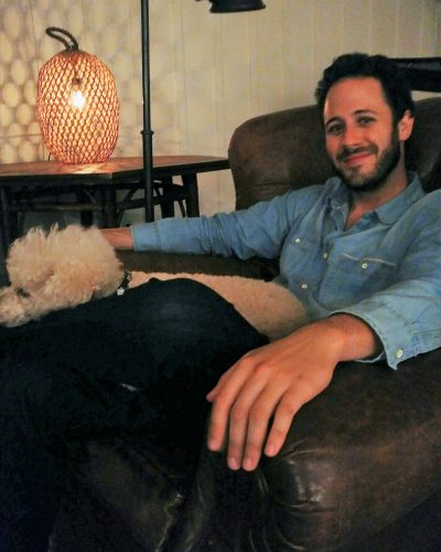 LA based author Mathieu Cailler with his dog Lou